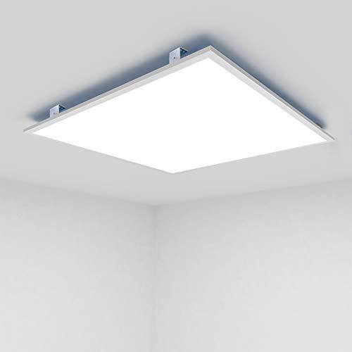 OUBO LED Panel 30x30cm Warmweiß 3000K quadratisch 18W 1650 Lumen Weißrahmen LED Wandleuchte Deckenleuchte für Büroräume, Flure, Messehallen, inkl. Trafo und Anbauwinkel