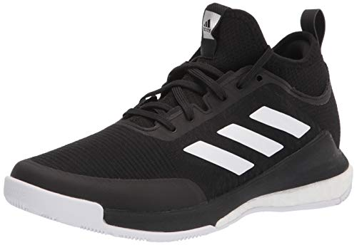 adidas Women's Crazyflight Mid Volleyball Shoe, Black/White/Black, 7