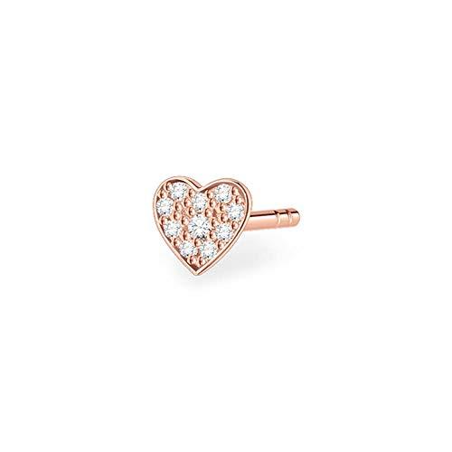 Thomas Sabo Women's Single Stud Earrings Heart Pavé Rose Gold 925 Sterling Silver