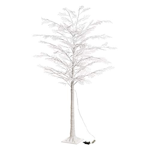 XMASKING Ramo Decorato, Albero Eucalipto Bianco h 180 cm, 200 LED Bianco Caldo, Luce Fissa, 24V, Interno