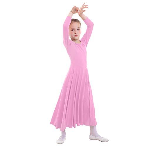 OBEEII Vestido de Liturgico Danza Niñas Vestido Maillot Leotardo Gimnasia Disfraz de Baile Clásica Combinación para Bautizo Danza Iglesia Ceremonia Casual 002 Rosa 7-8 Años