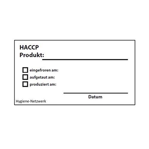 Hygiene Netzwerk Etikett HACCP Produkt   70x35mm auf einer Rolle mit Spender   500 Label   wasserlöslich   selbstklebend   Kennzeichnung Behälter Boxen   Aufkleber   Haushaltsetiketten   Beschriftung