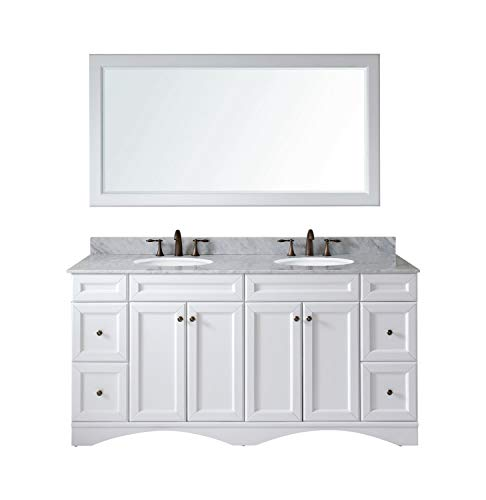 """Virtu USA ED-25072-WMRO-WH Talisa 72"""" Double Bathroom Vanity in White with Marble Top and Round Sink with Mirror, 72 inches"""