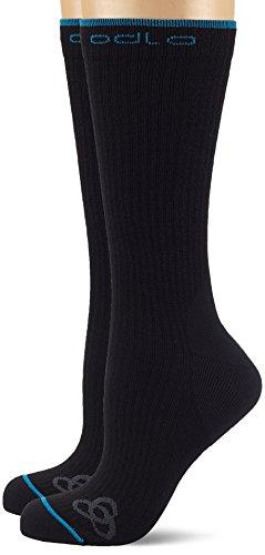 Odlo Long Allround Sport High Bas, Calcetines Altas para Mujer, Negro, 42-44, Pack de 2