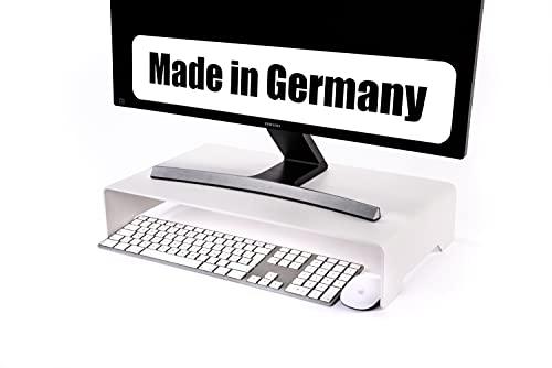 ECHTSTAHL Monitorständer Metall Weiß, Bildschirmständer und Laptopständer für gesundes ergonomisches Arbeiten im Büro/Home Office. Made in Germany. Schreibtischerhöhung & Monitor Stand.