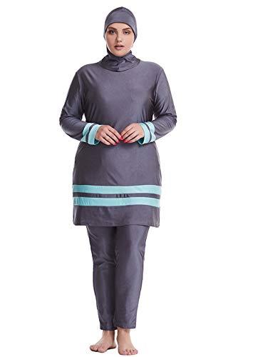 GladThink Dame Muslim Übergröße islamisch Traditionell Burkini Bescheiden Badebekleidung Grau 6XL