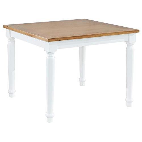 Etnicart - Tavolo da Pranzo Shabby Chic in Legno massello di Mogano Fisso 100x100-100x78x100-LEGNO MASSELLO Tavolo da Pranzo Legno Bianco