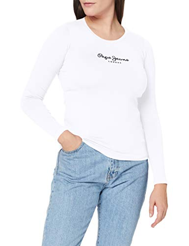 Pepe Jeans New Virginia LS PL502755 Camiseta, Blanco (White 800), Large para Mujer