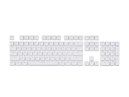 Monoprice Double Shot Keycaps - 104-Key Set - White, Compatible with Workstream Mechanical Keyboards