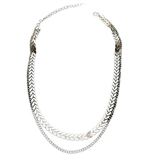 Yixikejiyouxian Collar, Collar de clavícula Exquisito de señora de Moda Collar Corto de Cadena de Espina de Pescado para Mujer Regalo de San Valentín - Plata