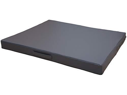 CopcoPet - Hundematte Jumbo M ca. 80 x 60 x 8 cm Grau mit sehr robustem Kunstleder