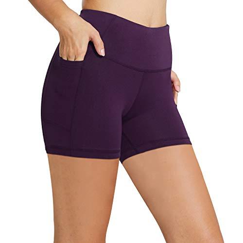 BALEAF - Pantaloncini da donna a vita alta, 20 cm, 13 cm, 5 cm, pantaloni corti per allenamento, ciclismo, yoga, corsa ed esercizi, a compressione, tasche laterali (taglie normali/forti) - viola - M