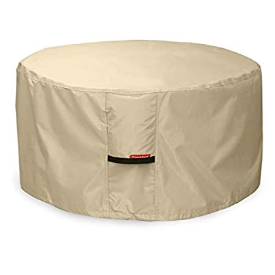 Porch Shield Fire Pit Cover - Waterproof 600D Heavy Duty Round Patio Fire Bowl Cover Beige - 50 inch