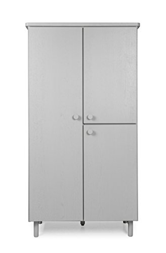 TENZO Grain Designer Armoire 3 Portes, Chêne, Gris, 94x46,5x177 cm