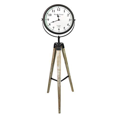 Mojawo XXL stativuhr Stand Reloj Kings Cross Sobre trípode de Madera Reloj de estación de Tren Nostalgie Cuarzo Estilo Antiguo Diámetro 26cm Negro 114cm Alto