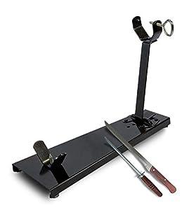 LEPANTO JAMONERO Plegable Acero Tipo C Color Negro + Regalo Cuchillo Y CHAIRA