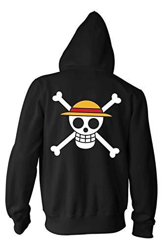 Ripple Junction One Piece Adult Luffy Straw Hat Fleece Zip Hoodie XL Black