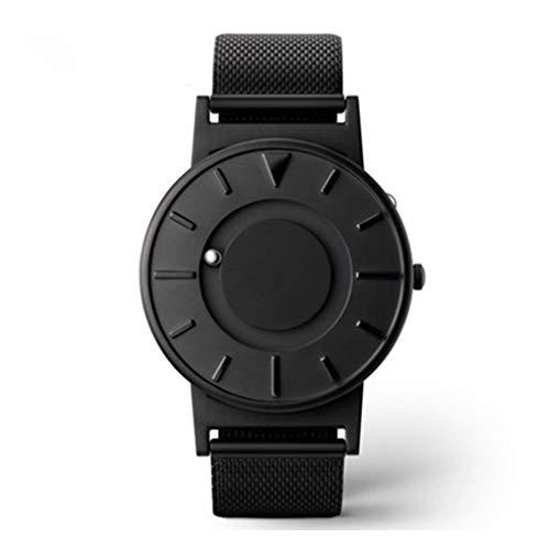 Tossi Reloj de Malla Bradley, Pulsera de Malla magnética de Acero Inoxidable Reloj clásico Concepto Unisex de Bola paralela,Black