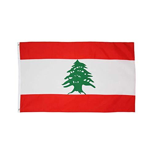 Sixcup Neue Libanesische Flagge, Libanon Flagge Fahne 90x150cm, Top Qualität Polyester,Flagge Gartendekoration Banner 3x5FT (25x20x3cm)