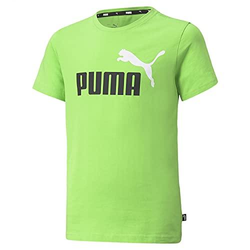PUMA Ess+ 2 col Logo Tee Maglietta, Verde Acceso, 10 Anni Bambino