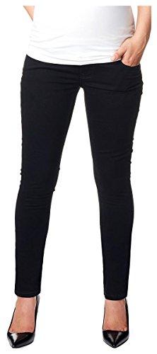 Love2Wait Superskinny Damen Schwangerschaftsjeans Umstandshose Five-Pocket-Jeans elastisch tiefer Bund schmaler Schnitt- Gr. XS (Herstellergröße: 28/34), Schwarz