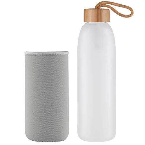 Life4u Borosilikat Trinkflasche Glas Wasserflasche Glasflasche mit Neoprenhülle BPA Frei 1000 ml Grau