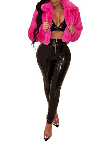Ophestin Women Solid Color Long Sleeve Shaggy Lapel Faux Fur Coat Short Jacket Outwear Warm Winter Rosy XL