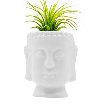 Ceramic Buddha Head Planter Pot Glazed White Ceramic Pot Face Planter Pot Succulent Plant Pot Air Plant Holder Pen Holder Pencil Cup Brush Holder Pot Home Office Room Decor