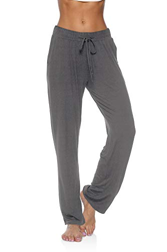 DIBAOLONG Womens Yoga Pants Wide Leg Comfy Drawstring Loose Straight Lounge Running Workout Legging Dark Gray M