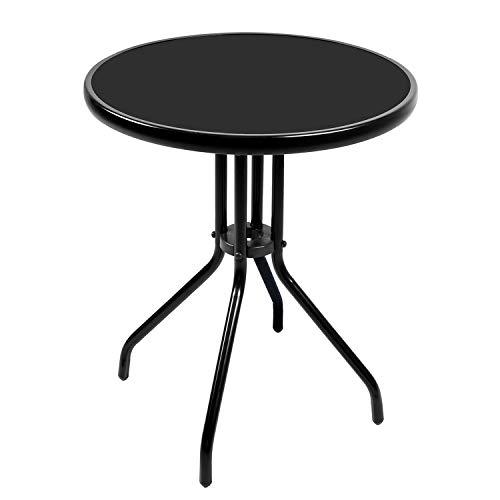 Mojawo® Bistrotisch Glas/Metall Rund Ø60xH70cm schwarz Balkontisch Gartentisch Glastisch