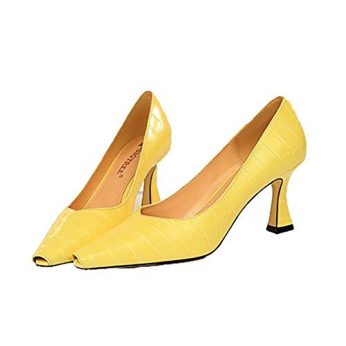 Zapatos de tacón Alto para Mujer, Zapatos de tacón bajo con Punta en Punta, Tacones de Aguja de Moda, Deslizamiento en la Diapositiva, Boca Baja, Verde, Amarillo, Negro, Blanco