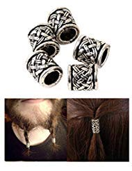 Viking Beads Beard Hair Beads-viking Rune Beads Bracelet Celtic Crossed Knots Beads Norse Hair Beads for Hair Beard for Necklace Bracelet Making Accessories Beads about 6.5 Mm Inner Diameter