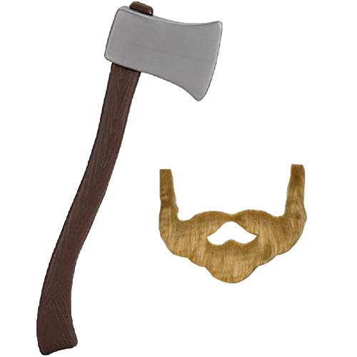 """NOVELTY GIANT WWW.NOVELTYGIANT.COM 24"""" Plastic Lumberjack Axe & Brown Beard Costume Set"""