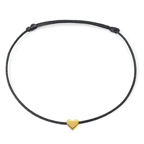 Selfmade Jewelry Fußkettchen Herz Gold auf schwarzem Satinband - Größenverstellbare Fußkette Handmade in Germany Fußbändchen Fußband Inkl. Geschenk-Verpackung (Gold - Schwarz)