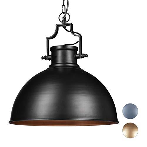 Relaxdays Hängelampe Industrial Design im Shabby Look, Deko für Esszimmer, E27, Pendellampe Ø 40,5 cm, schwarz, Eisen, 40 W, 40.5 x 40.5 x 155 cm