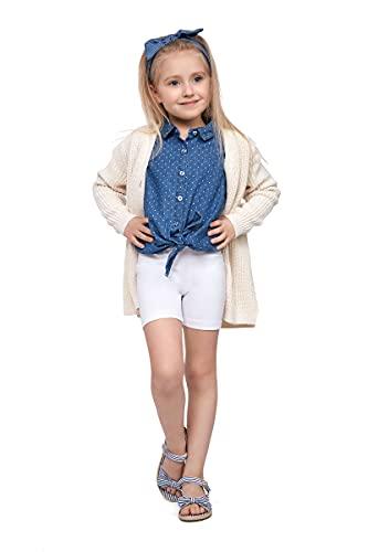 SOFTSAIL Mädchen 1/2 Länge Overknee Baumwolle Leggings Kinder Atmungsaktiv Radhose Fahrrad Tanzen Schule Hose Gr. 11-12 Jahre, weiß