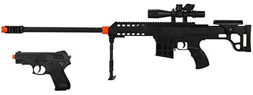 2-in-1 Airsoft BB Spring Sniper Rifle Gun & Side-ARM Pistol...