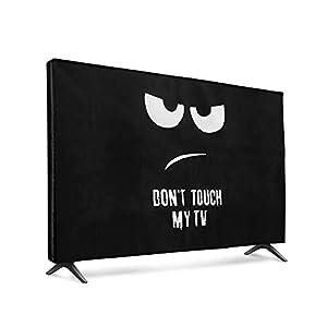 """kwmobile 32"""" TV Hülle - Fernseher Bildschirmschutz Abdeckung - TV Bildschirm Staubschutzhülle - Don't Touch My TV Weiß Schwarz"""