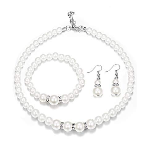 Finrezio Weiße Perlen Halskette Armband Ohrringe Schmuck-Sets für Damen Frauen ModeSchmuck Hochzeit Party Schmuck Geschenke