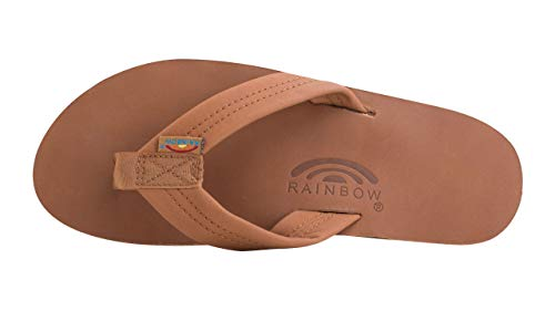 Rainbow Sandals Men's Premier Leather Double Layer with Arch Wide Strap, Classic Premier Black, Men's Medium / 8.5-9.5 D(M) US