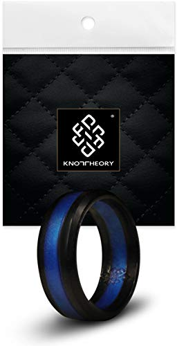 Knot Theory Striped Silicone Rings for Men Women – Metal Thin Blue Line 8mm...