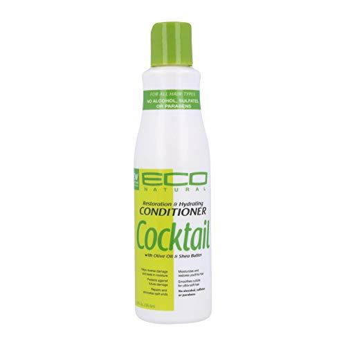 Ecoco - Eco Cocktail Shampoo - Olive and Shea Conditioner - Restauration et hydratation - Répare et élimine les pointes fourchues - Protège contre les dommages - Sans alcool - Sans sulfate - 8 oz/236