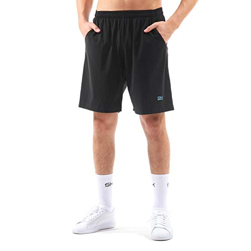 Sportkind Jungen & Herren Tennis, Training, Sport Shorts lang Ultraleicht, hochelastisch, atmungsaktiv, UV-Schutz, schwarz, Gr. L