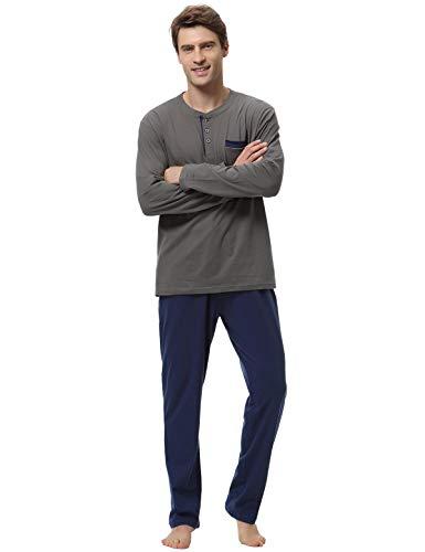 Abollria Herren Schlafanzug lang Zweiteiliger Winter Langarm Baumwolle Nachtwäsche Langarmshirt & Hose aus weicher Baumwolle Herren-Pyjamas für Herren Nachtwäsche Loungewear (S, Dunkelblau)
