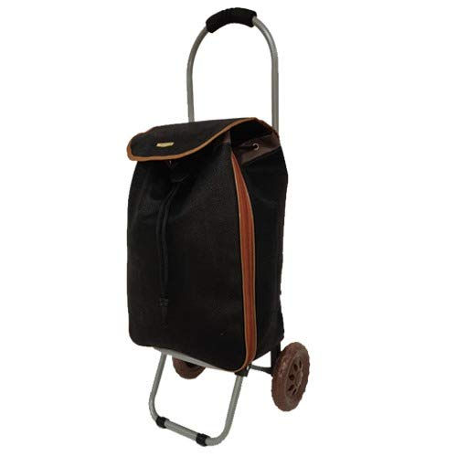 Eagle Light weigh 2 Wheel Shopping Trolley Waterproof Expandable Laundry Market Cart Wheeled Push Pull Bags (42L Suede Black st1500)