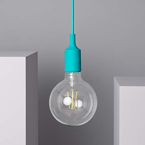 LEDKIA LIGHTING Lámpara Colgante Rubik 100x100x1540 mm Turquesa E27 Casquillo Gordo Silicona - PVC Decoración Salón, Habitación, Dormitorio