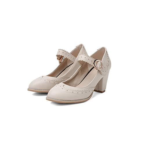Hencik Zapatos de tacón para mujer con correa de hebilla y puntera redonda, Mary Janes de cuero de moda con tacón alto y grueso, zapatos Oxford (color: beige, tamaño: 7.5)