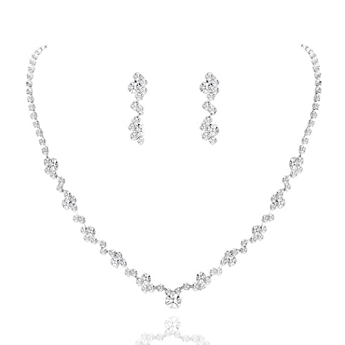 Yean Bride Silver Bridal Necklace Earrings Set Crystal Wedding Jewelry Set Rhinestone Choker Necklace for Women and Girls (Silver) (Silver)