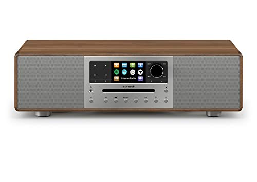 sonoro MEISTERSTÜCK Kompaktanlage mit CD Player, Bluetooth & Internet-Radio (Stereoanlage, FM, WLAN, DAB Plus, Spotify, Amazon, Tidal, Deezer) Walnuss