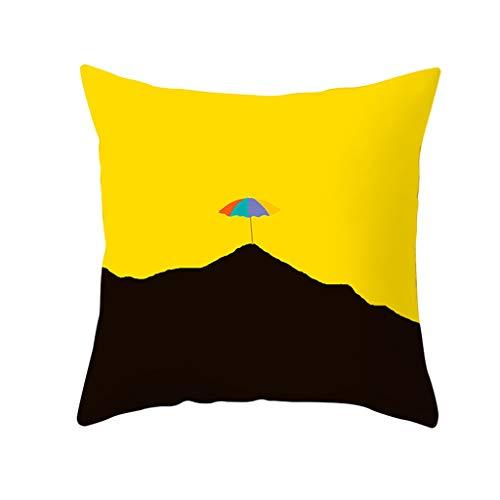 Oppal Funda de Almohada de poliéster Amarilla para sofá, Funda de cojín para la Cintura del Coche, decoración del hogar, Funda de Almohada para el día de Pascua (F)